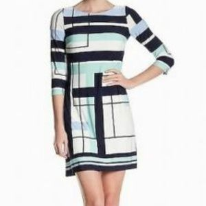 Vince-Camuto--Blue and white Print Dress